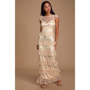 Lulus Romantic Daydreamer Champagne Lace Tier Maxi